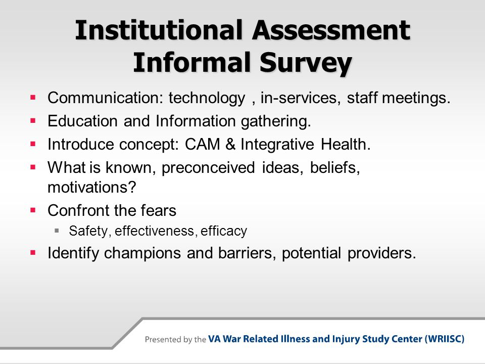 Institutional Assessment Informal Survey