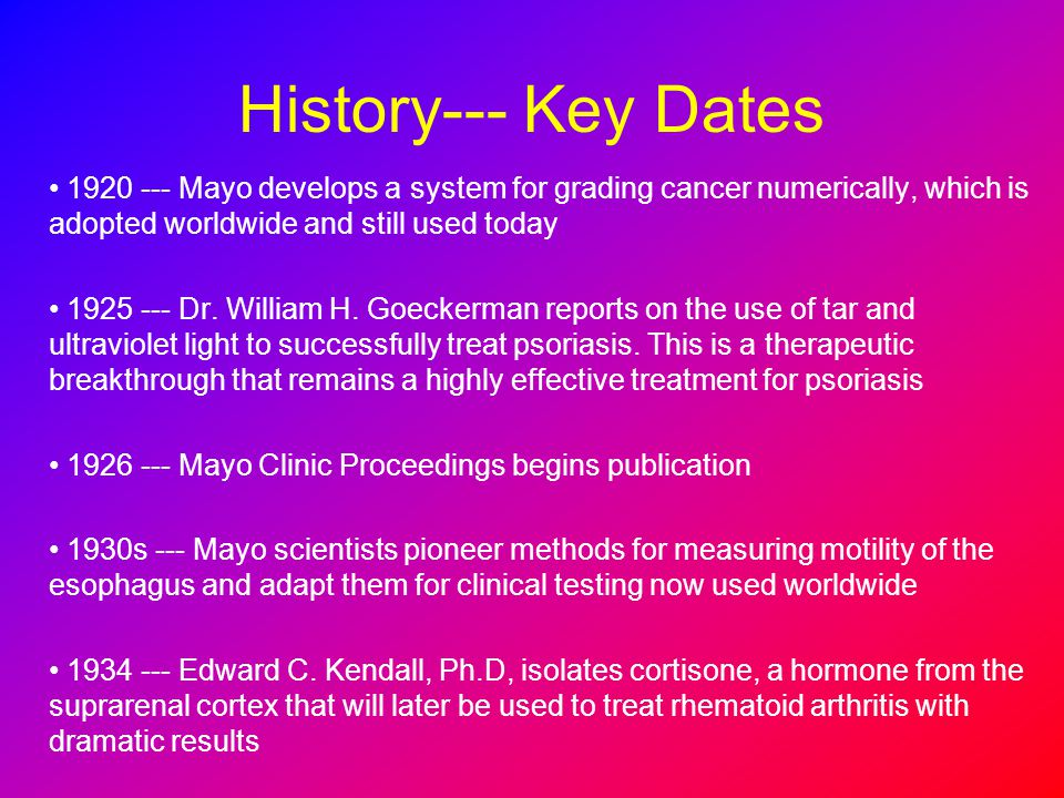 History--- Key Dates 1920 --- Mayo develops a system for grading cancer numerically, which is adopted worldwide and still used today.