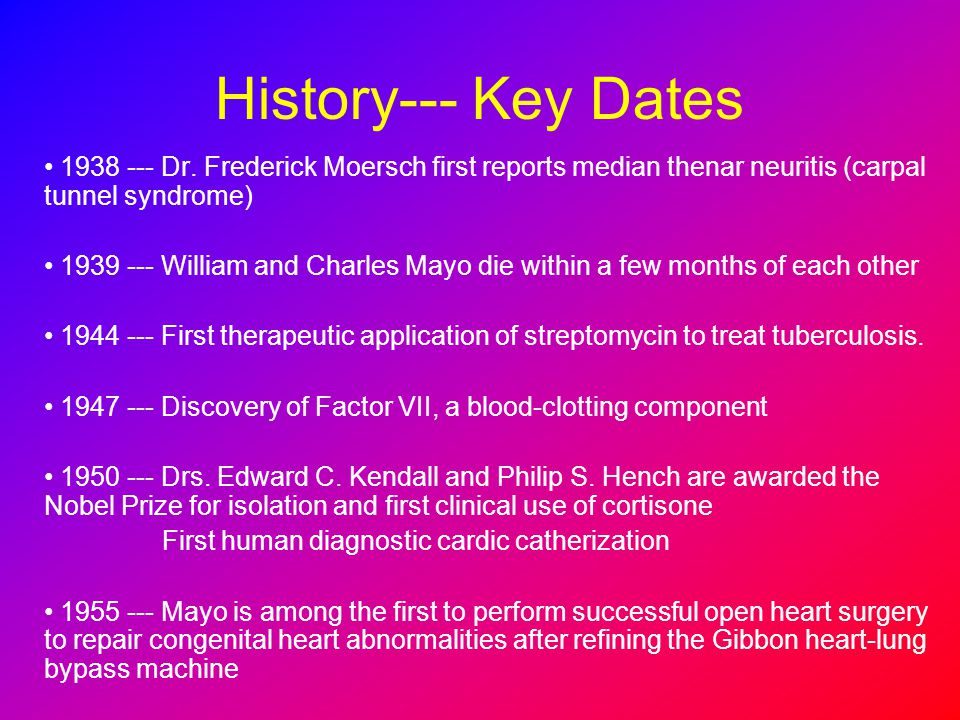 History--- Key Dates 1938 --- Dr. Frederick Moersch first reports median thenar neuritis (carpal tunnel syndrome)