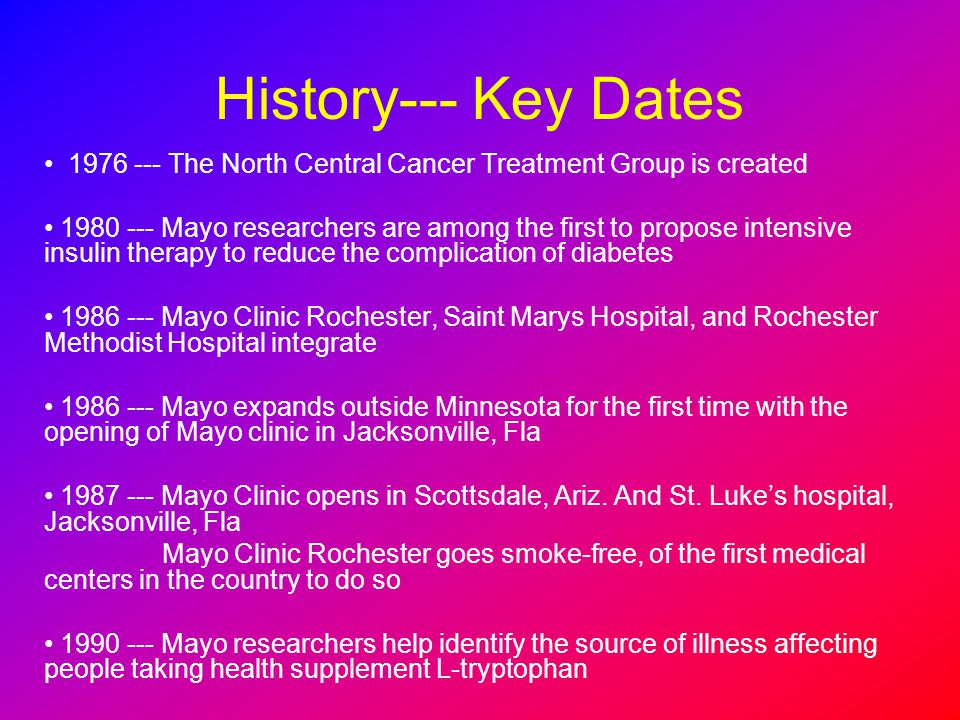 History--- Key Dates 1976 --- The North Central Cancer Treatment Group is created.