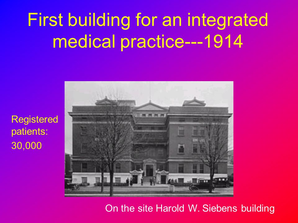 First building for an integrated medical practice---1914