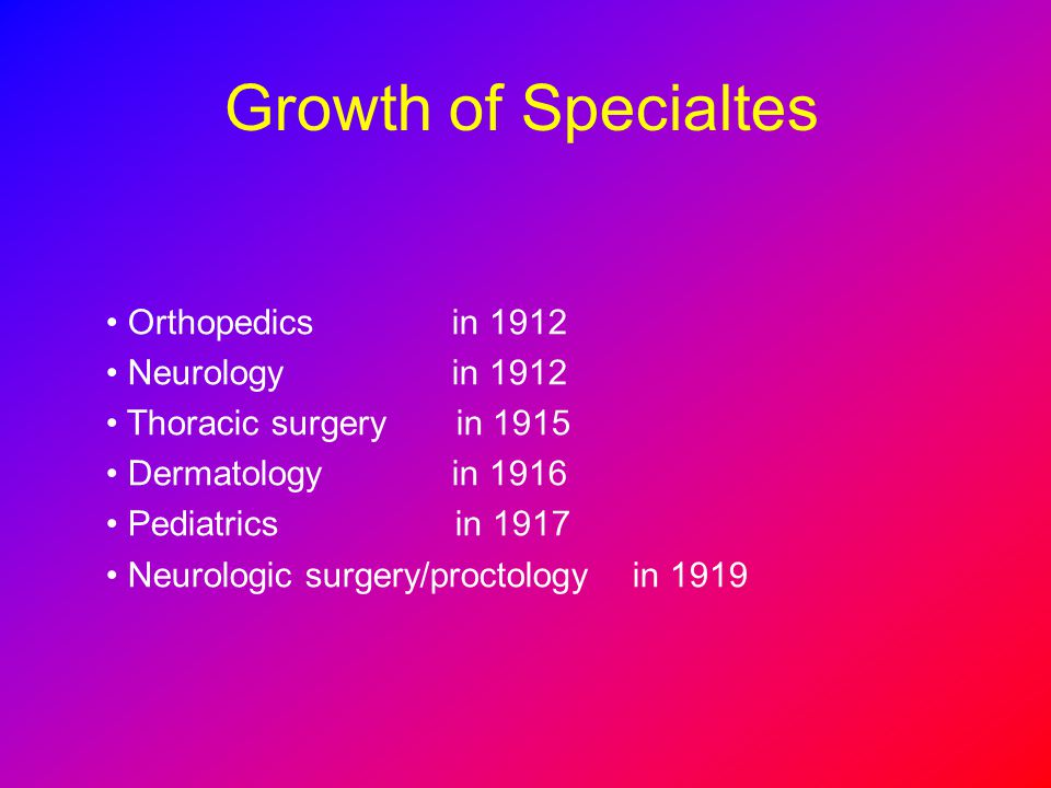 Growth of Specialtes Orthopedics in 1912 Neurology in 1912