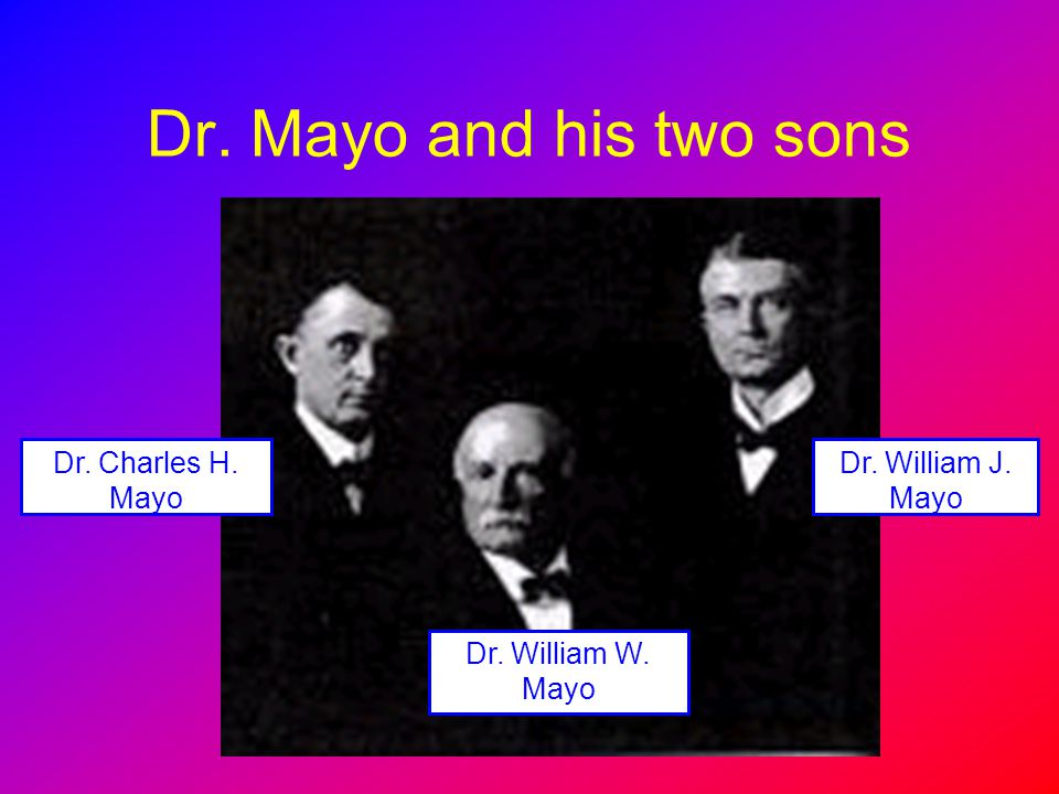 Dr. Mayo and his two sons Dr. Charles H. Mayo Dr. William J. Mayo