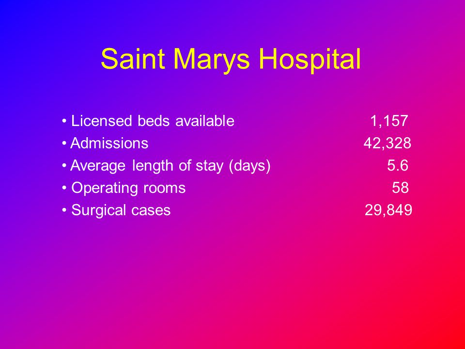 Saint Marys Hospital Licensed beds available 1,157 Admissions 42,328