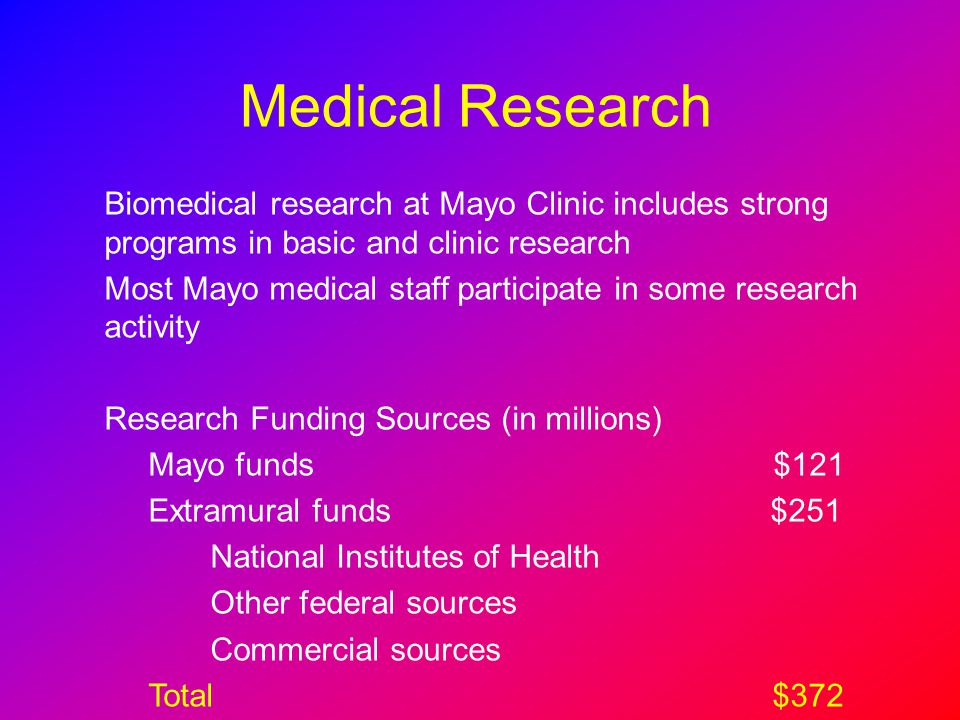 Medical Research Biomedical research at Mayo Clinic includes strong programs in basic and clinic research.