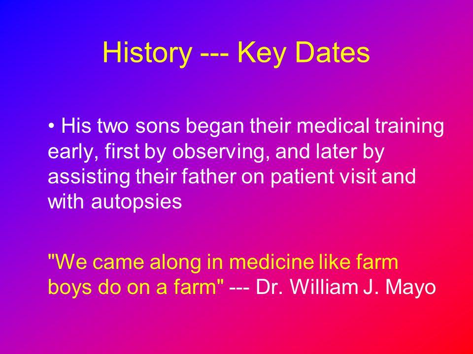 History --- Key Dates