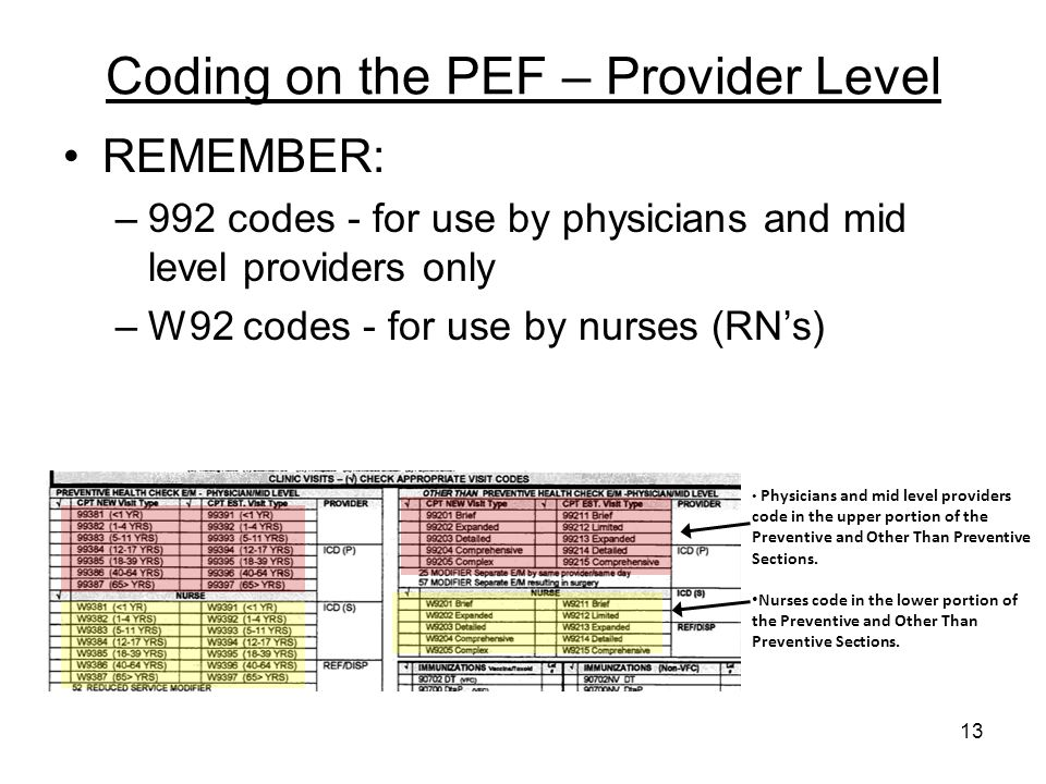 Coding on the PEF – Provider Level