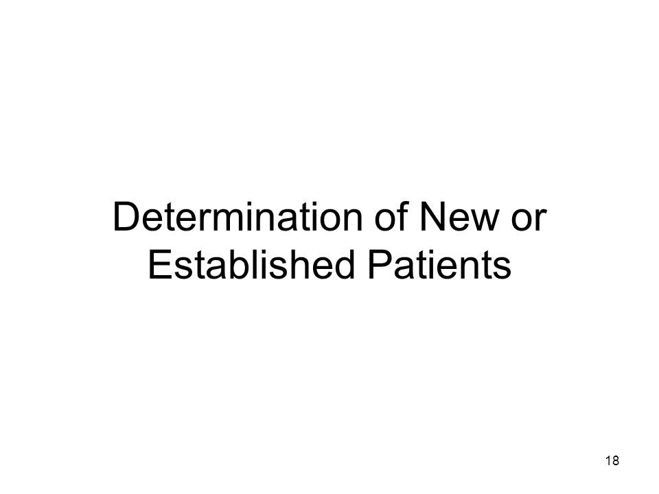 Determination of New or Established Patients