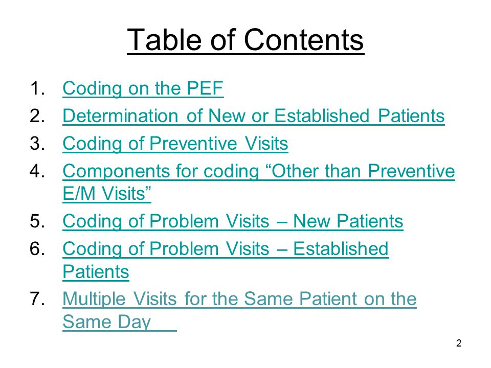Table of Contents Coding on the PEF