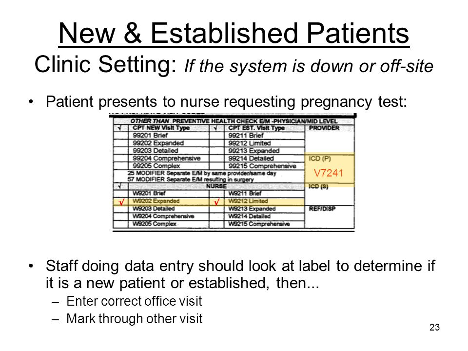 New & Established Patients Clinic Setting: If the system is down or off-site