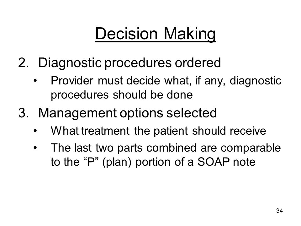 Decision Making Diagnostic procedures ordered
