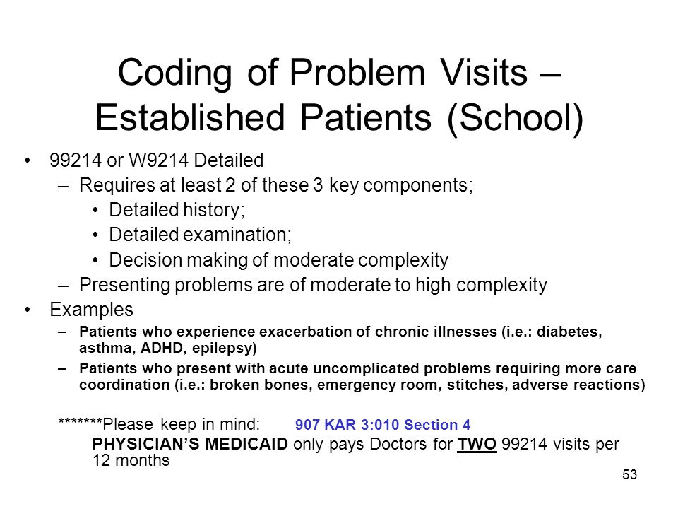 Coding of Problem Visits – Established Patients (School)