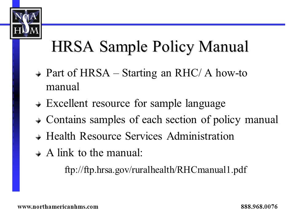 HRSA Sample Policy Manual