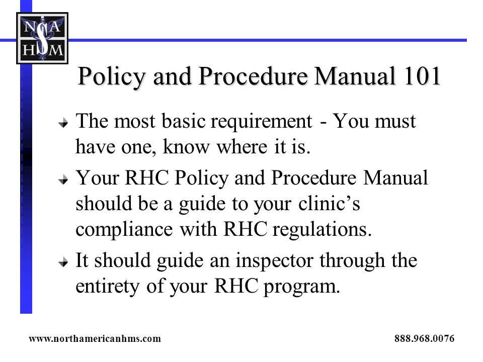 Policy and Procedure Manual 101