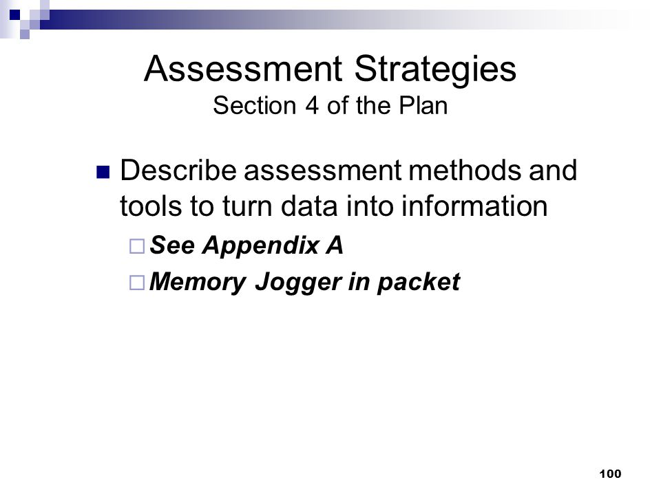 Assessment Strategies Section 4 of the Plan