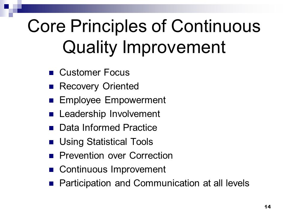 Core Principles of Continuous Quality Improvement