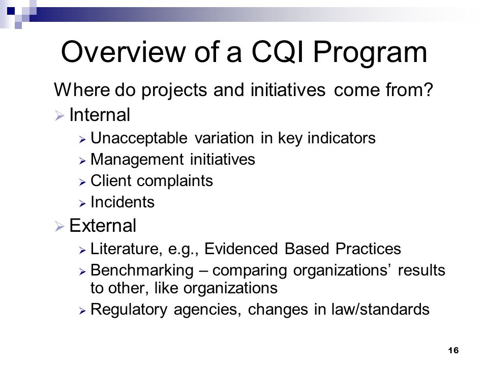 Overview of a CQI Program