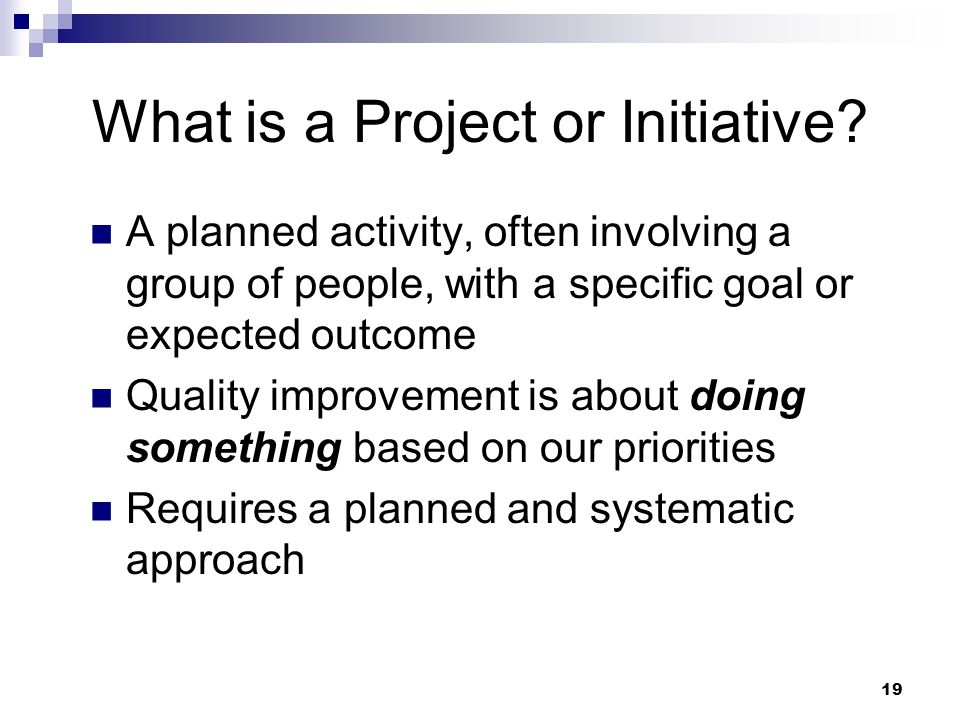 What is a Project or Initiative