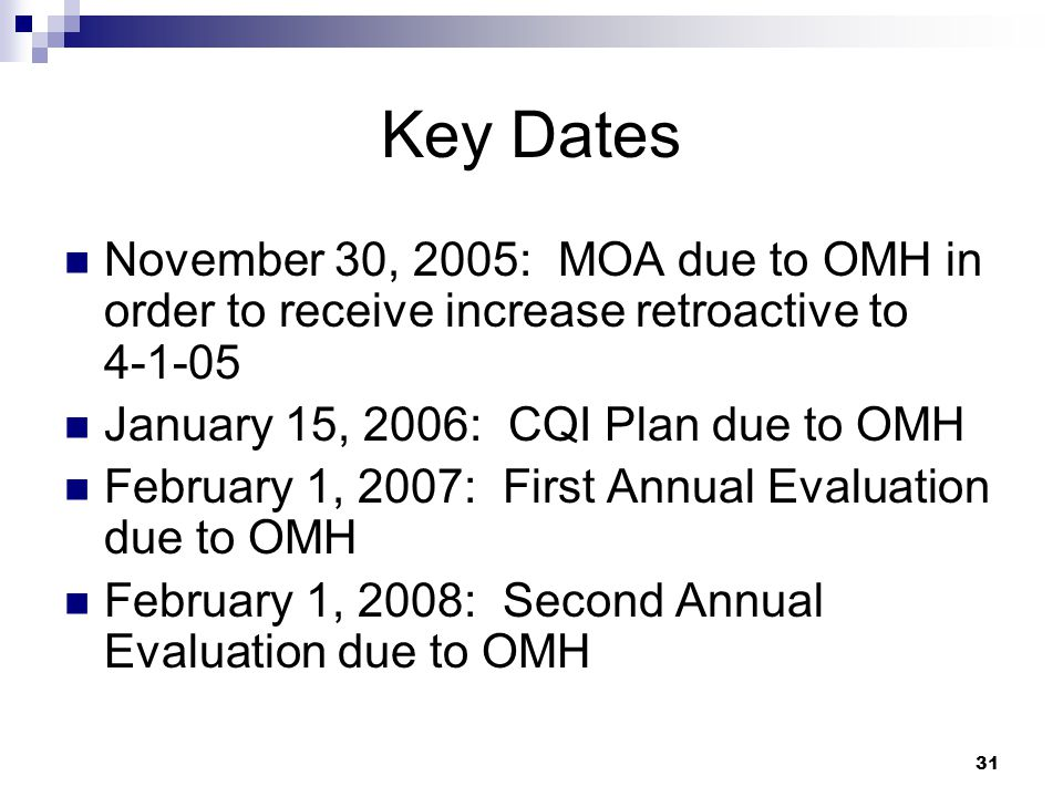 Key Dates November 30, 2005: MOA due to OMH in order to receive increase retroactive to 4-1-05. January 15, 2006: CQI Plan due to OMH.