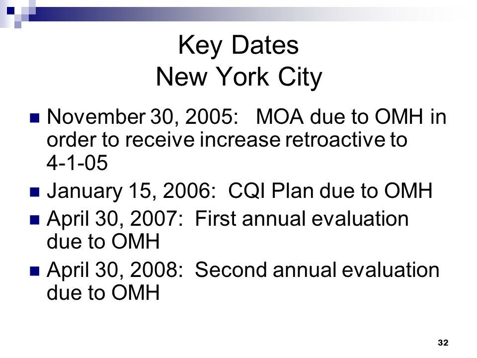 Key Dates New York City November 30, 2005: MOA due to OMH in order to receive increase retroactive to 4-1-05.