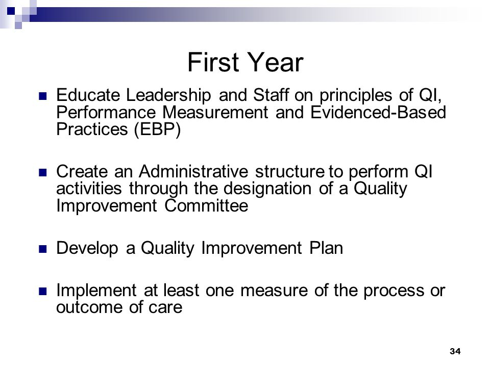 First Year Educate Leadership and Staff on principles of QI, Performance Measurement and Evidenced-Based Practices (EBP)