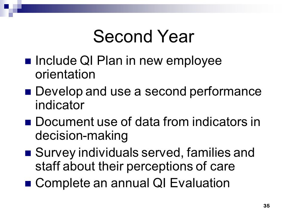 Second Year Include QI Plan in new employee orientation