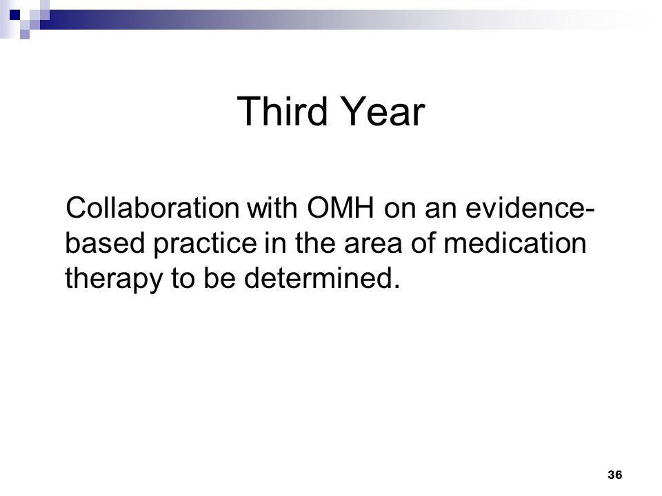 Third Year Collaboration with OMH on an evidence-based practice in the area of medication therapy to be determined.