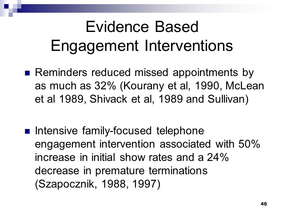 Evidence Based Engagement Interventions