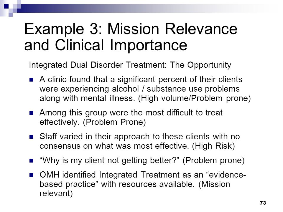 Example 3: Mission Relevance and Clinical Importance