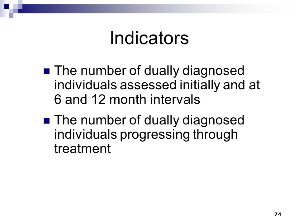 Indicators The number of dually diagnosed individuals assessed initially and at 6 and 12 month intervals.