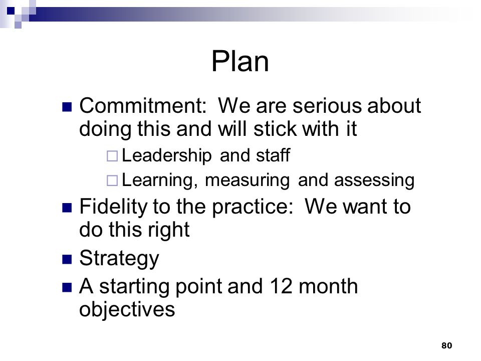 Plan Commitment: We are serious about doing this and will stick with it. Leadership and staff. Learning, measuring and assessing.