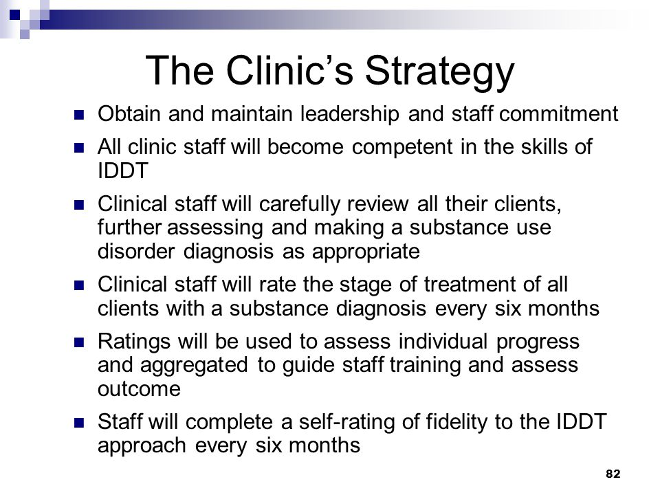 The Clinic's Strategy Obtain and maintain leadership and staff commitment. All clinic staff will become competent in the skills of IDDT.