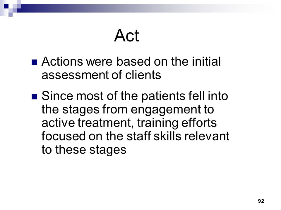 Act Actions were based on the initial assessment of clients