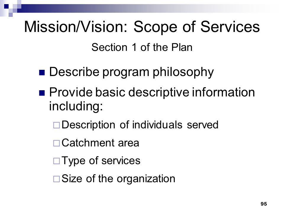 Mission/Vision: Scope of Services Section 1 of the Plan
