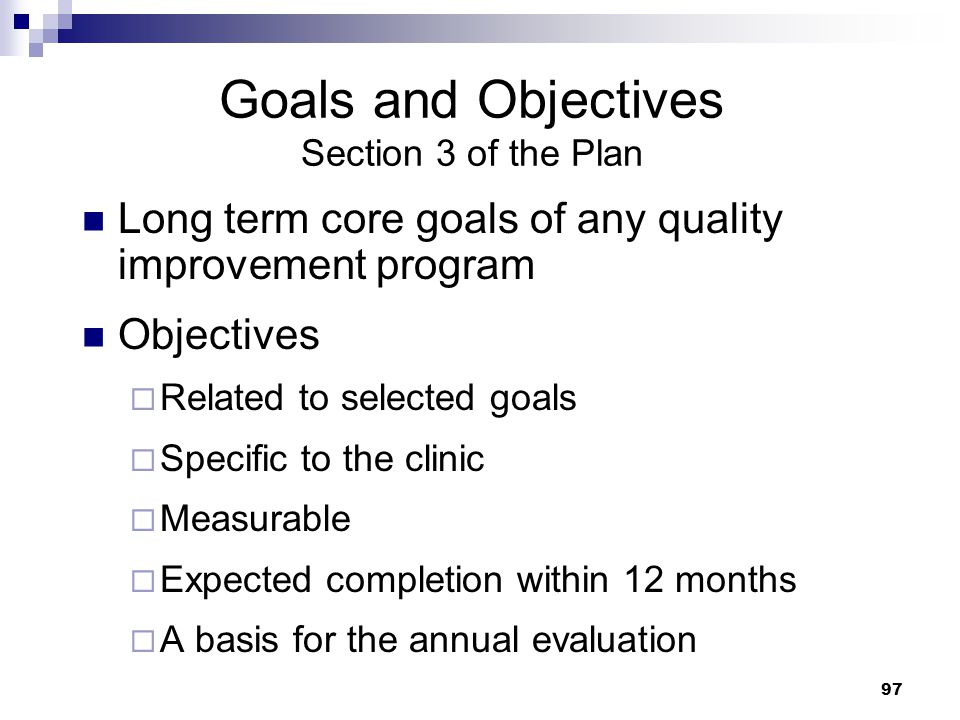Goals and Objectives Section 3 of the Plan