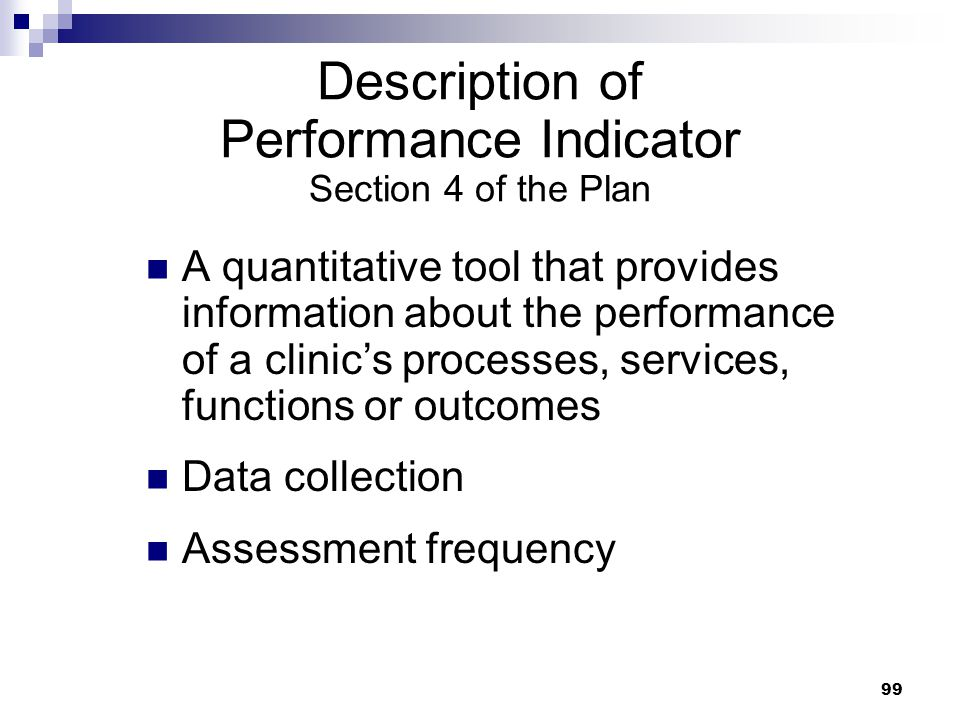 Description of Performance Indicator Section 4 of the Plan
