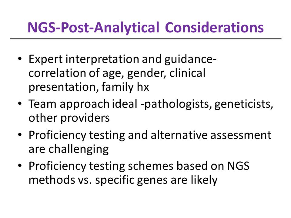 NGS-Post-Analytical Considerations