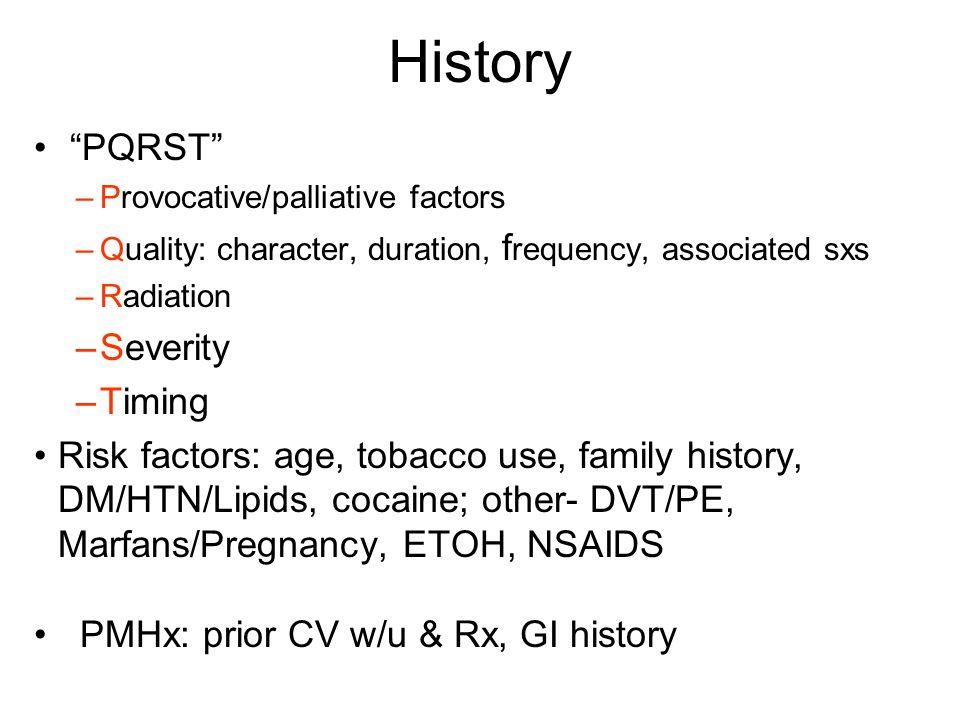 History PQRST Severity Timing