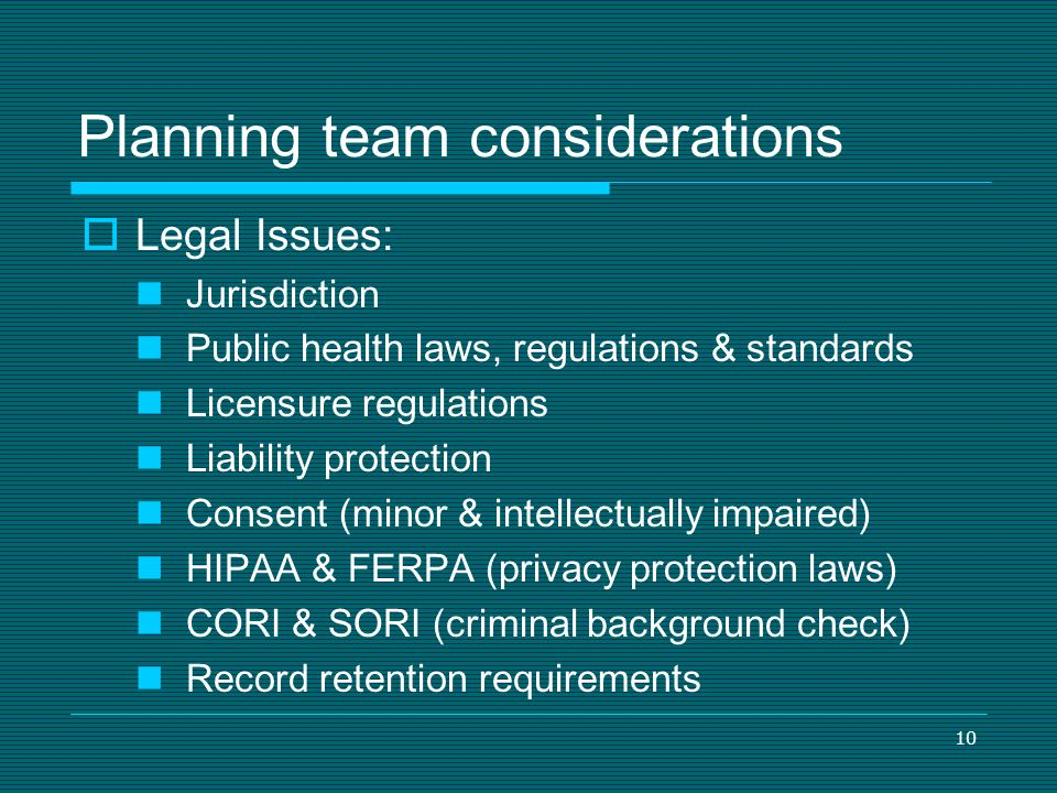 Planning team considerations