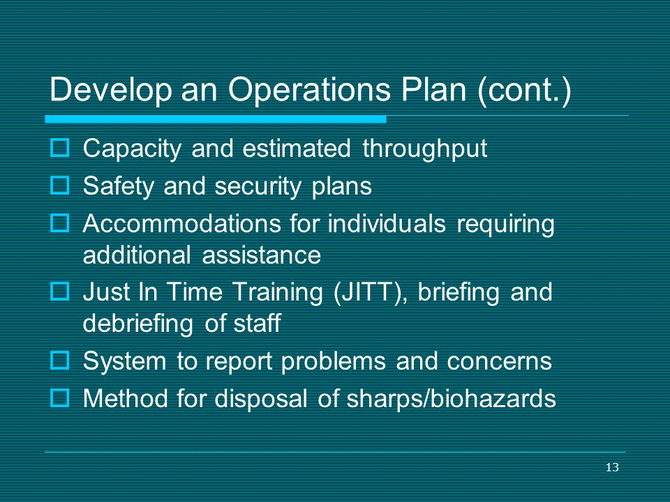 Develop an Operations Plan (cont.)