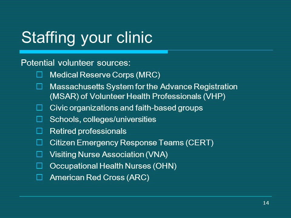 Staffing your clinic Potential volunteer sources: