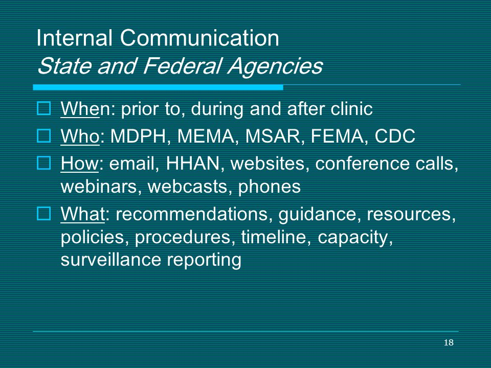 Internal Communication State and Federal Agencies