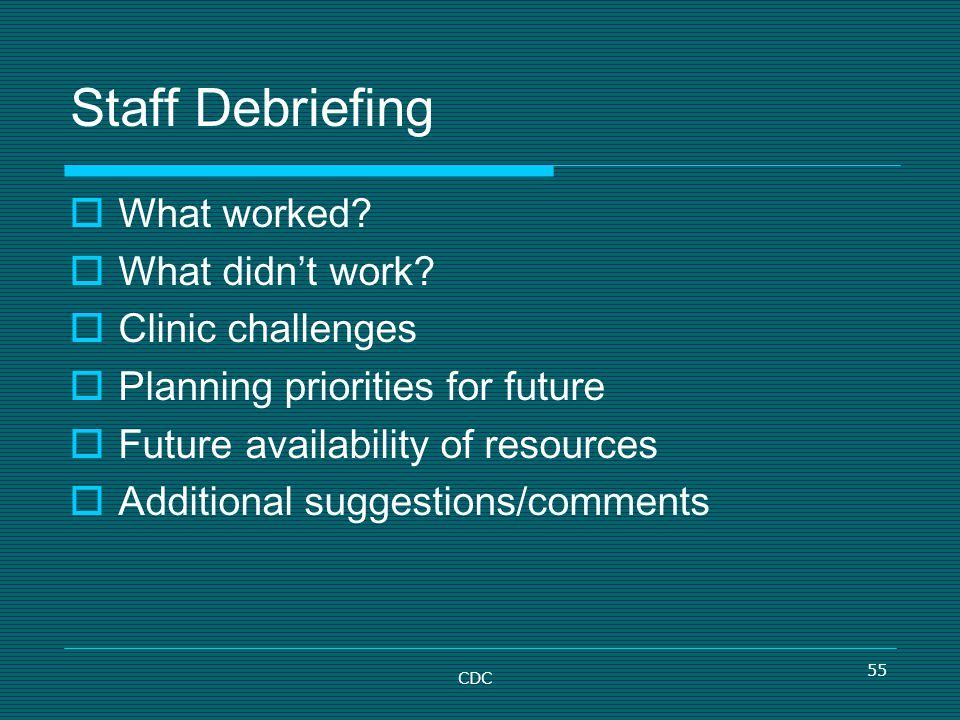 Staff Debriefing What worked What didn't work Clinic challenges