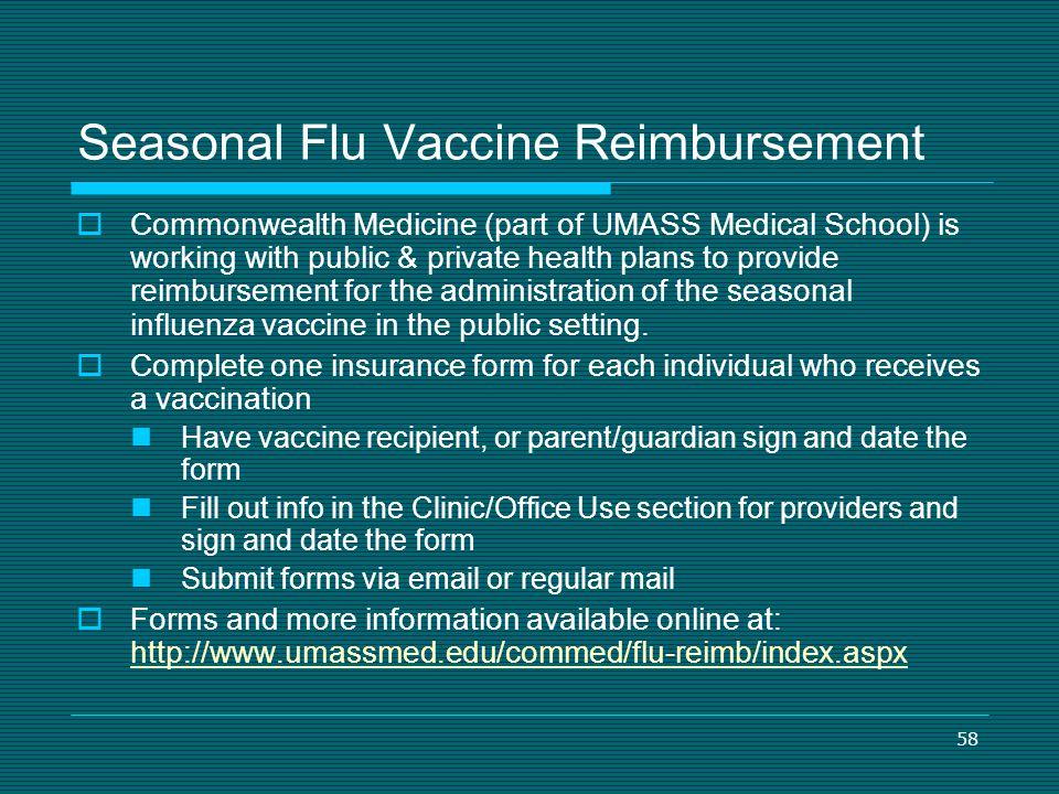Seasonal Flu Vaccine Reimbursement