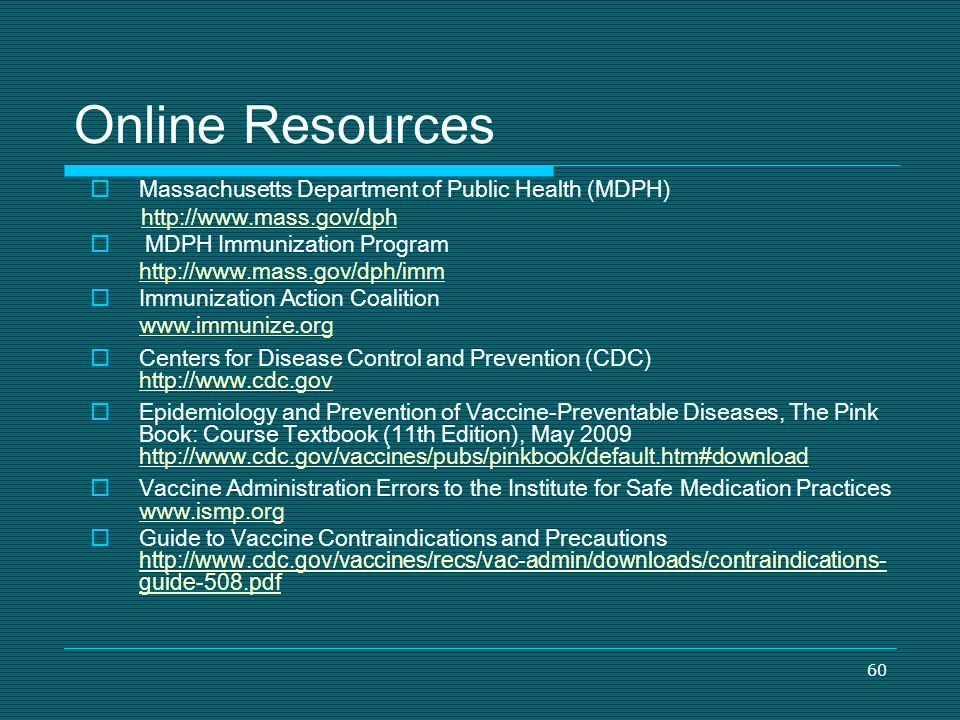 Online Resources Massachusetts Department of Public Health (MDPH)