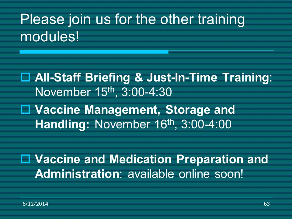 Please join us for the other training modules!