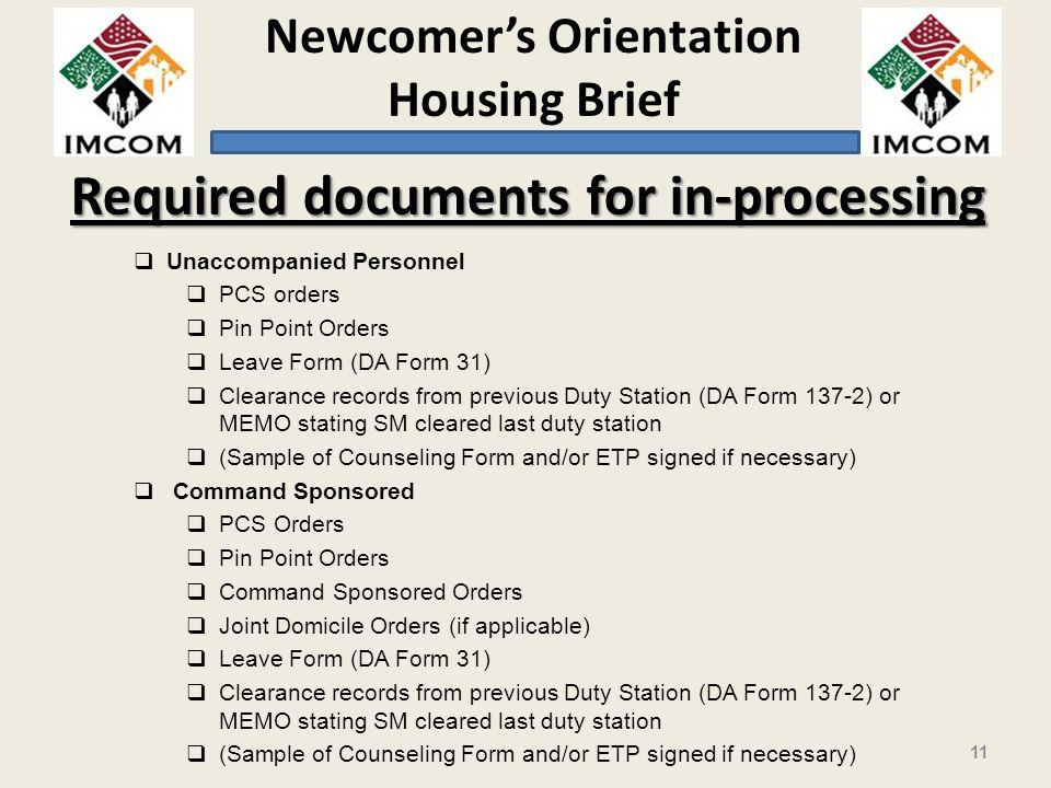Required documents for in-processing