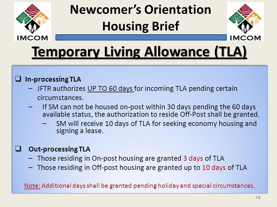 Temporary Living Allowance (TLA)
