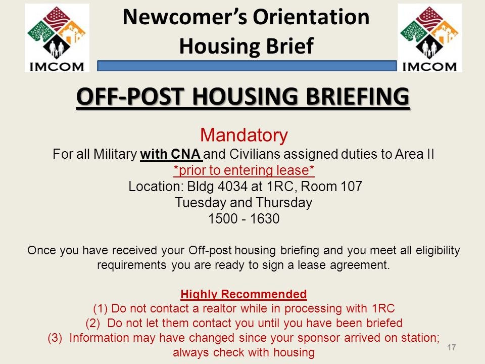 OFF-POST HOUSING BRIEFING