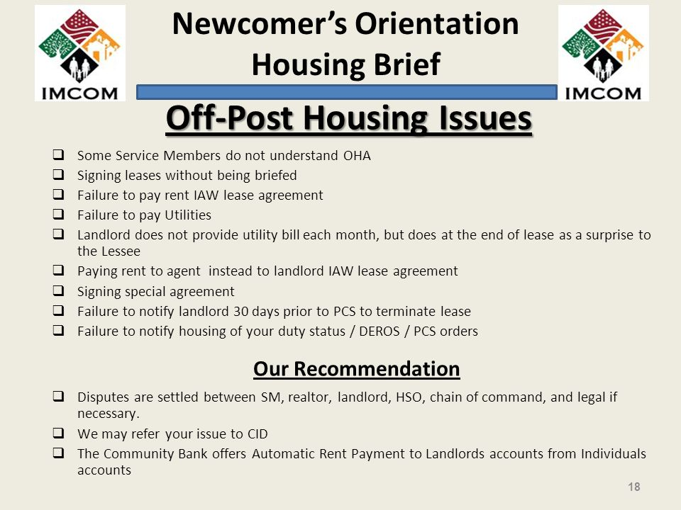 Off-Post Housing Issues